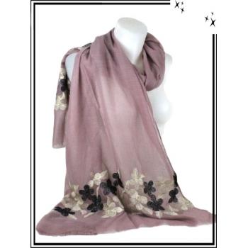 Foulard / Etole - Fleurs dorées et noires - Fond rose