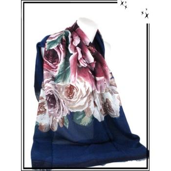 Foulard / Etole - Roses - Touches brillantes - Bleu marine