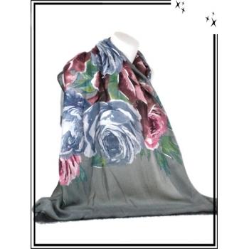 Foulard / Etole - Roses - Touches brillantes - Gris