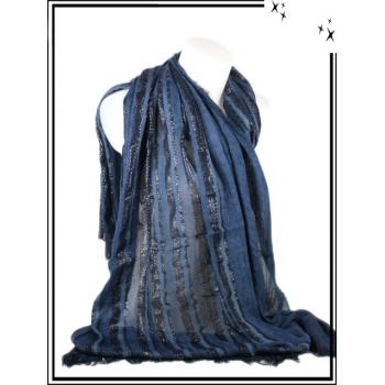 Foulard / Etole - Unis - Rayures brillantes - Bleu marine