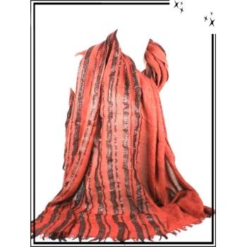 Foulard / Etole - Unis - Rayures brillantes - Rouille