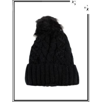 Bonnet - Doublé polaire - Mailles serrées - Entrelacé - Noir