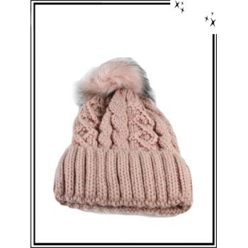 Bonnet - Doublé polaire - Mailles serrées - Entrelacé - Rose