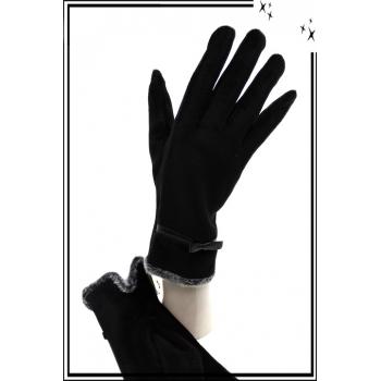 Gants - Noeud - Moumoutes au poignet - Noir