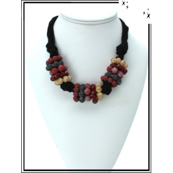 Collier - Multi-perles - Tons Bordeaux