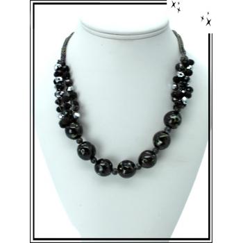 Collier - Perles brillantes - Noir