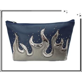 Pochette - Flammes - Clouté - Bleu marine