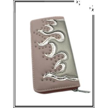 Porte-monnaie - Double compartiments - Flammes - Clouté - Vieux rose