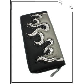 Porte-monnaie - Double compartiments - Flammes - Clouté - Noir