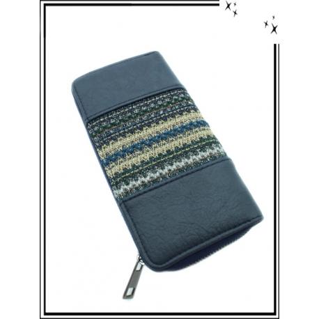 Porte-monnaie - Double compartiments - Style azthèque - Bleu marine
