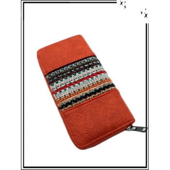 Porte-monnaie - Double compartiments - Style azthèque - Rouille