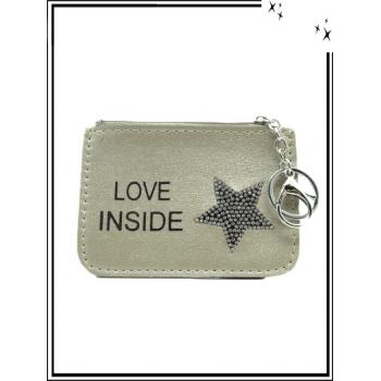 Petite pochette - Porte-clé - Etoile strass - LOVE INSIDE - Doré