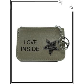 Petite pochette - Porte-clé - Etoile strass - LOVE INSIDE - Taupe