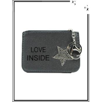 Petite pochette - Porte-clé - Etoile strass - LOVE INSIDE - Gris