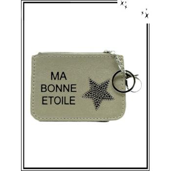 Petite pochette - Porte-clé - Etoile strass - MA BONNE ETOILE - Doré