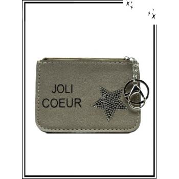 Petite pochette - Porte-clé - Etoile strass - JOLI COEUR - Taupe