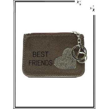 Petite pochette - Porte-clé - Coeur strass - BEST FRIENDS - Chocolat