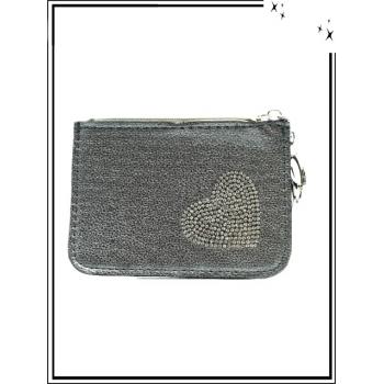 Petite pochette - Porte-clé - Coeur strass - Argent