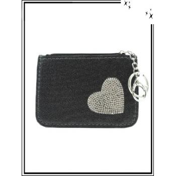 Petite pochette - Porte-clé - Coeur strass - Noir / Argent