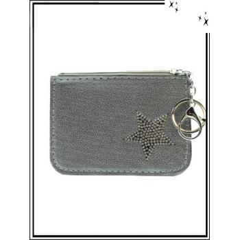 Petite pochette - Porte-clé - Etoile strass - Argent