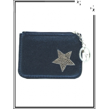 Petite pochette - Porte-clé - Etoile strass - Bleu marine