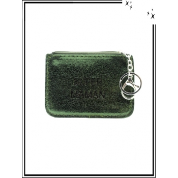 Petite pochette - Porte-clé - Message - SUPER MAMAN - Vert