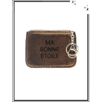Petite pochette - Porte-clé - Message - MA BONNE ETOILE - Chocolat
