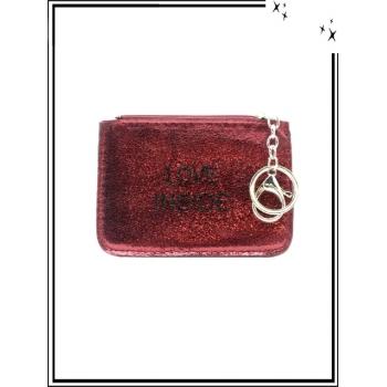 Petite pochette - Porte-clé - Message - LOVE INSIDE - Rouge