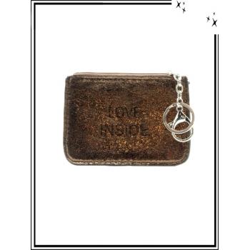 Petite pochette - Porte-clé - Message - LOVE INSIDE - Chocolat
