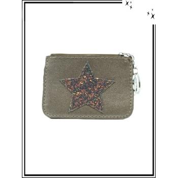 Petite pochette - Porte-clé - Etoile strass foncé - Gris