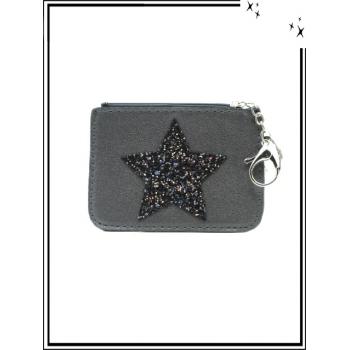 Petite pochette - Porte-clé - Etoile strass - Gris foncé