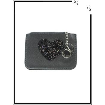 Petite pochette - Porte-clé - Coeur strass - Gris foncé