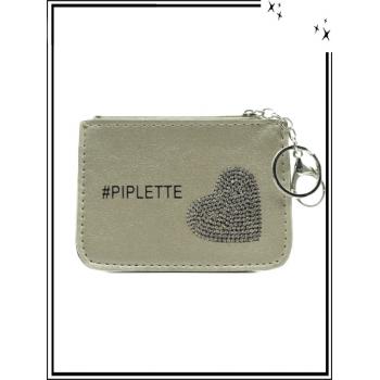Petite pochette - Porte-clé - Coeur strass - PIPLETTE - Doré