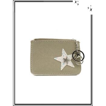 Petite pochette - Porte-clé - Etoile strass / Argent - Gris clair