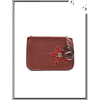 Petite pochette - Porte-clé - Etoile strass / Argent - Rouge