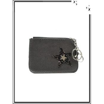 Petite pochette - Porte-clé - Etoile strass / Argent - Gris foncé