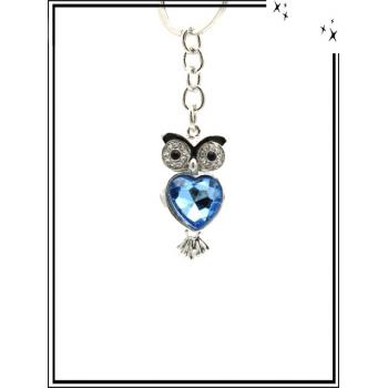 Porte-clé - Bijoux de sac - Strass - Chouette coeur bleu - Argent