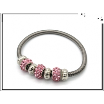 Bracelet - Ressort - Pampilles - Strass - Rose