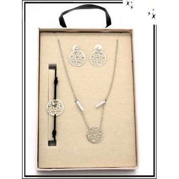 Coffret - Bijoux filigrane - Collier - Bracelet - Boucles d'oreilles - Coeur - Argent
