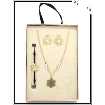 Coffret - Bijoux filigrane - Collier - Bracelet - Boucles d'oreilles - Fleurs - Doré