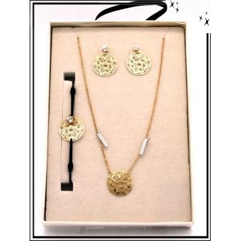 Coffret - Bijoux filigrane - Collier - Bracelet - Boucles d'oreilles - Papillons - Doré