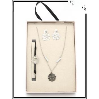 Coffret - Bijoux filigrane - Collier - Bracelet - Boucles d'oreilles - Rosaces - Argent