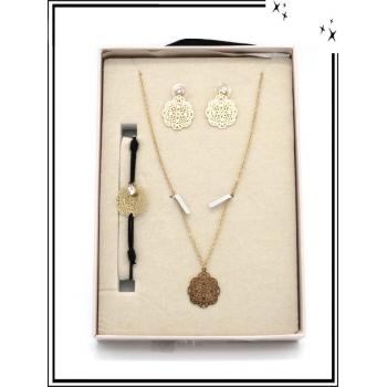 Coffret - Bijoux filigrane - Collier - Bracelet - Boucles d'oreilles - Rosaces - Doré