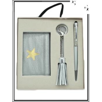Coffret - Porte carte - Bijoux de sacs - Stylo - Argent