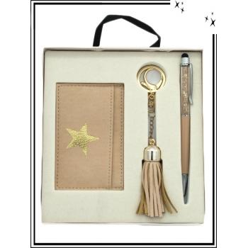Coffret - Porte carte - Bijoux de sacs - Stylo - Doré rose