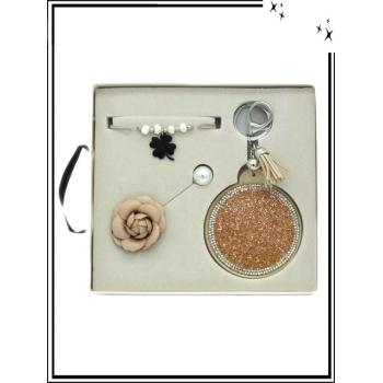 Coffret - Bracelet - Broche - Miroir de poche - Doré rose