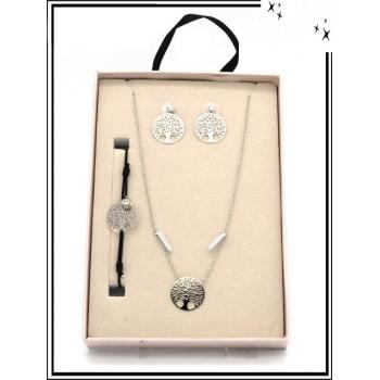 Coffret - Bijoux filigrane - Collier - Bracelet - Boucles d'oreilles - A de vie - Argent