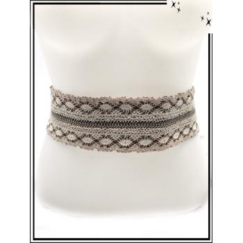 Ceinture - Lacets - Brodure - Beige