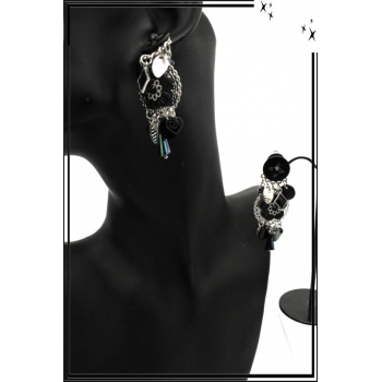 Boucles d'oreilles - Clip - Pampilles - Fleurs - Noir