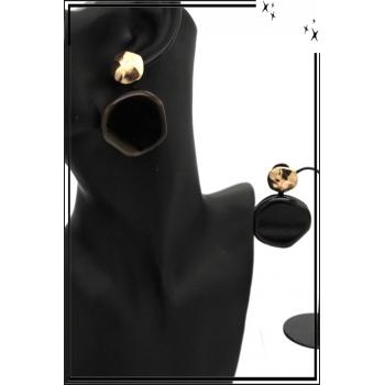 Boucles d'oreilles - Résine - Doré / Noir